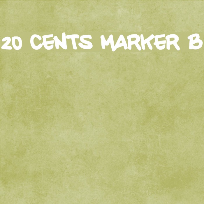 20 CENTS MARKER Bold Font examples