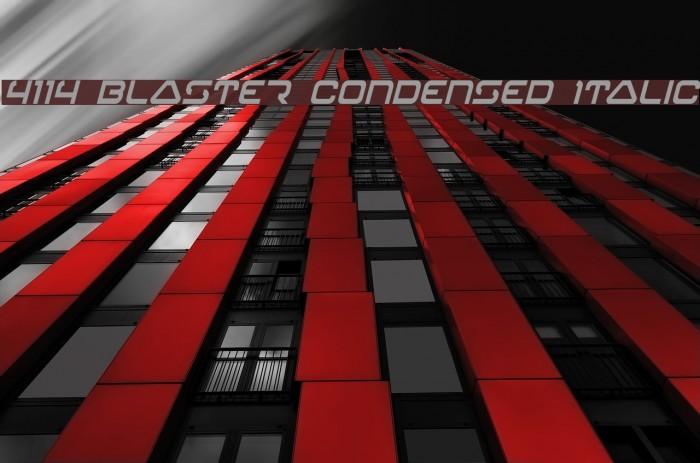 4114 Blaster Condensed Italic Font examples