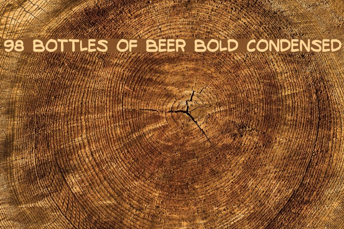 98 Bottles of Beer Bold Condensed Fonte examples
