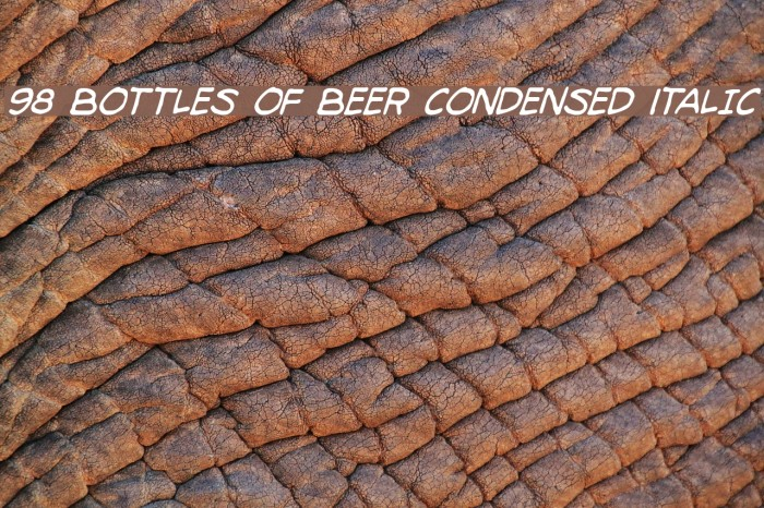 98 Bottles of Beer Condensed Italic Fonte examples