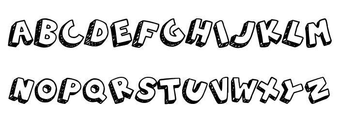 3D Hand Drawns 字体 大写