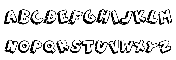 3D Hand Drawns Font LOWERCASE