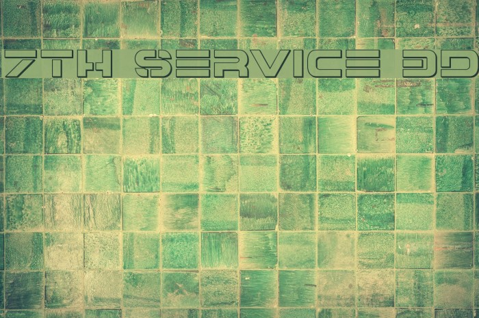 7th Service 3D Font examples