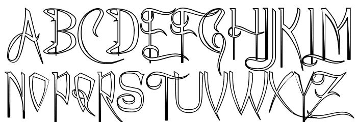 A Charming Font Outline फ़ॉन्ट अपरकेस