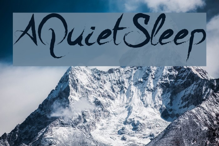 A Quiet Sleep フォント examples