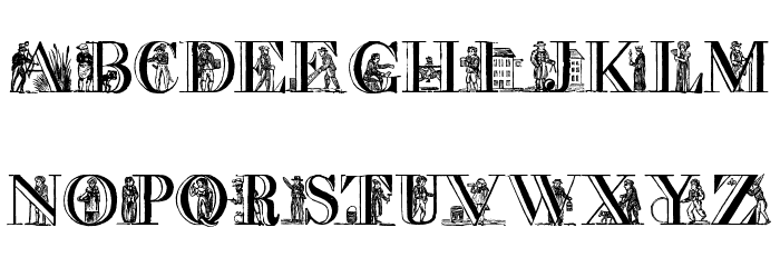 a picture alphabet Font LOWERCASE