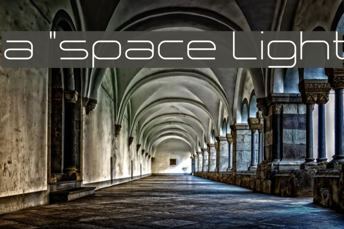 a `space Light Шрифта examples