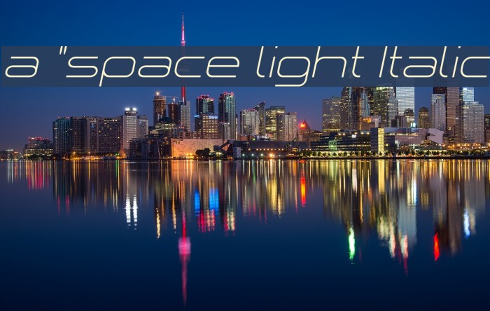 a `space light Italic Font examples