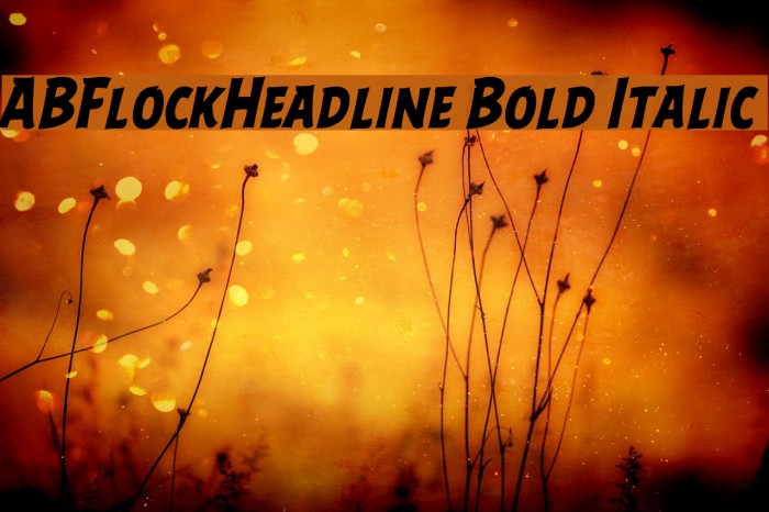 ABFlockHeadline Bold Italic Шрифта examples