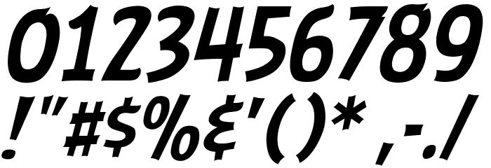 ABFlockHeadline Italic Шрифта ДРУГИЕ символов