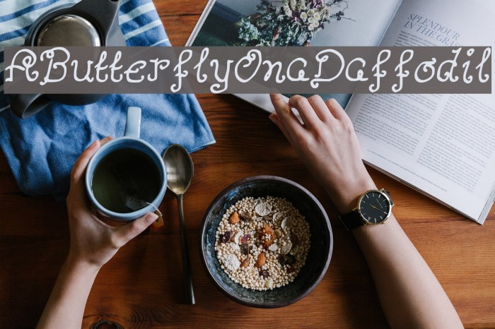 AButterflyOnaDaffodil Font examples