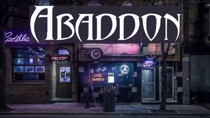 Abaddon!` Font examples