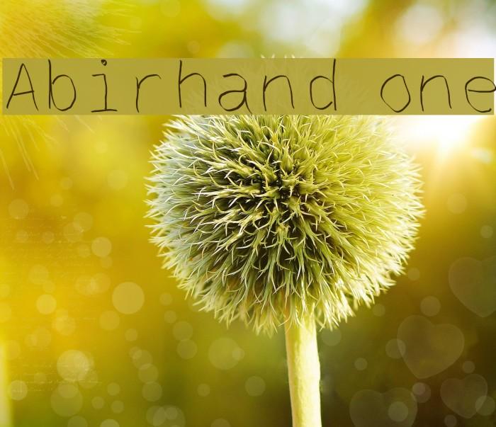 Abirhand one Schriftart examples