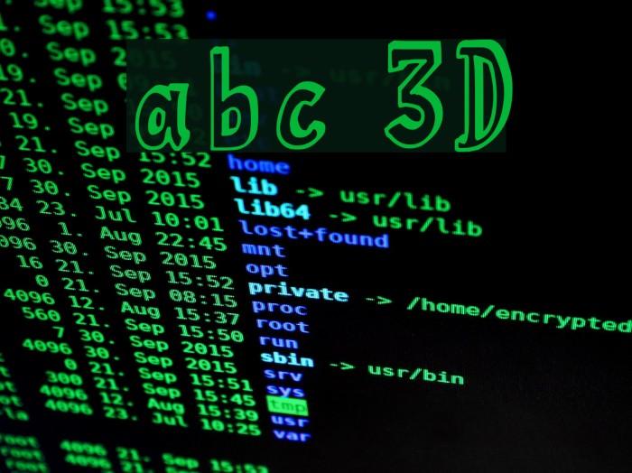 abc 3D Font examples
