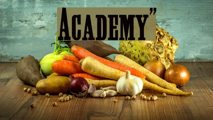 Academy!` Шрифта examples