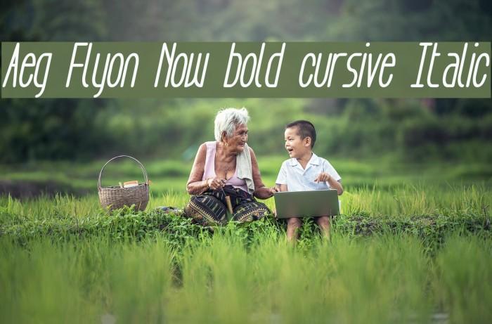 Aeg Flyon Now bold cursive Italic Fonte examples