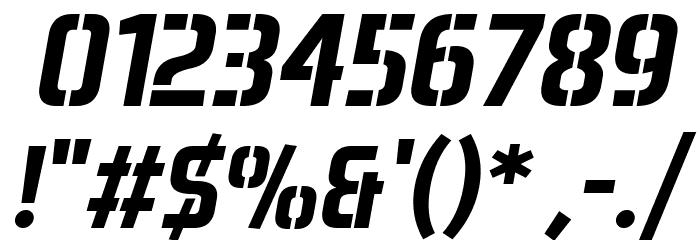 Aero Matics Stencil Bold Italic Font OTHER CHARS