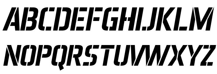 Aero Matics Stencil Bold Italic Font UPPERCASE