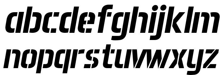 Aero Matics Stencil Bold Italic Font LOWERCASE