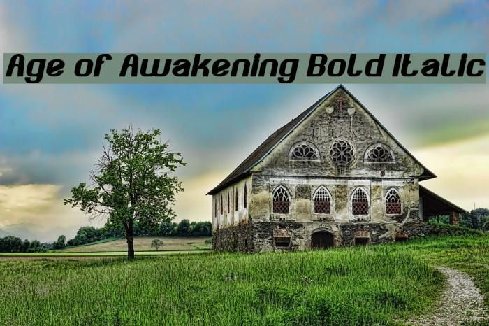 Age of Awakening Bold Italic Font examples