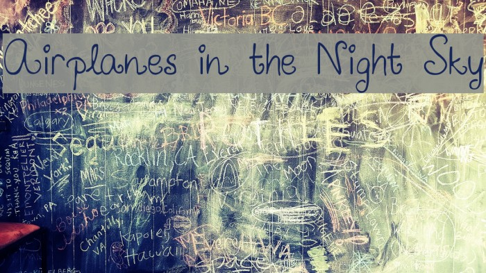 Airplanes in the Night Sky Font examples