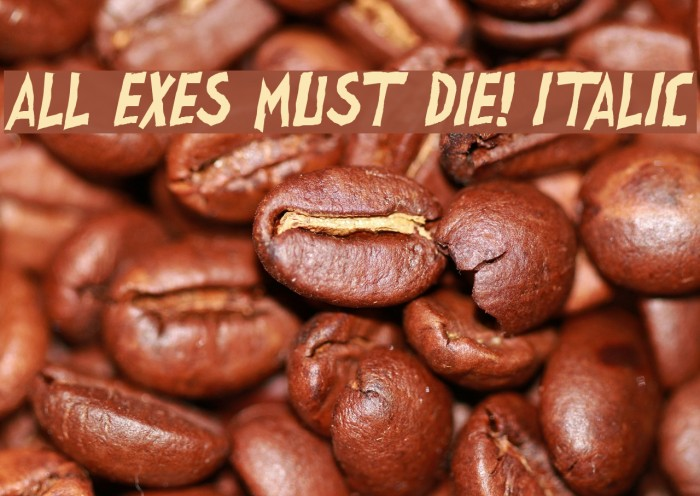all exes must die! Italic Font examples