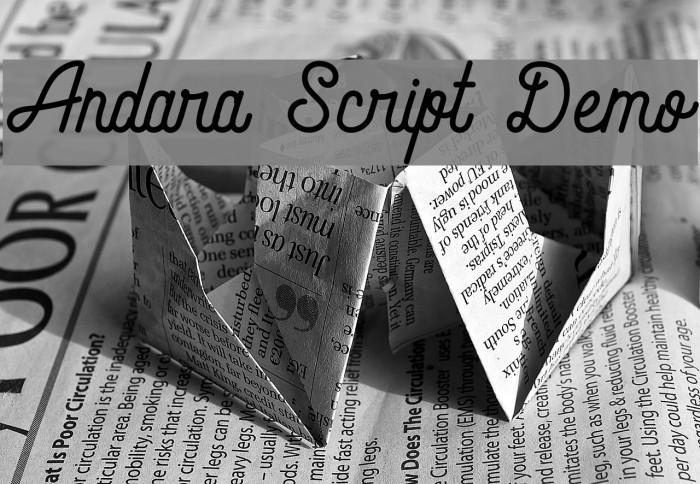 Andara Script Demo Schriftart examples