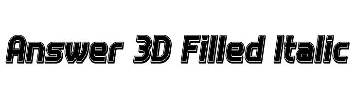 Answer 3D Filled Italic  नि: शुल्क फ़ॉन्ट्स डाउनलोड
