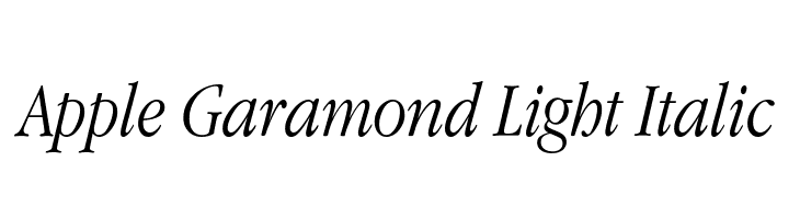 Apple Garamond Light Italic  Free Fonts Download
