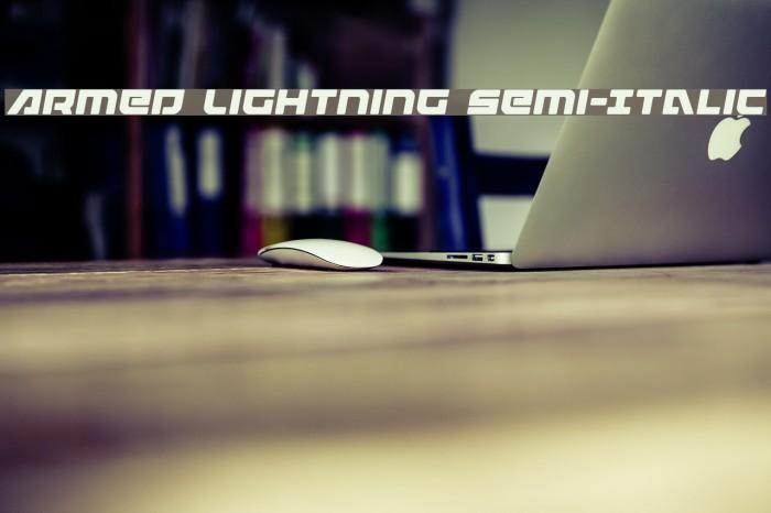 Armed Lightning Semi-Italic Schriftart examples