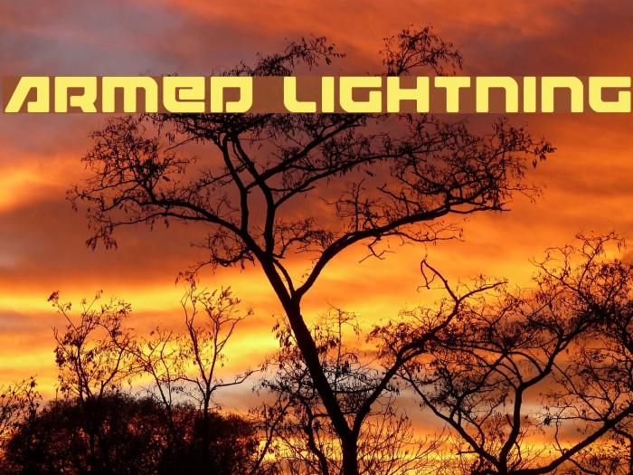 Armed Lightning Schriftart examples