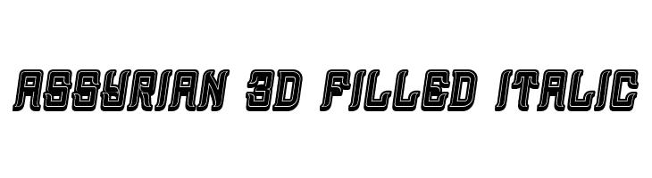Assyrian 3D Filled Italic  नि: शुल्क फ़ॉन्ट्स डाउनलोड