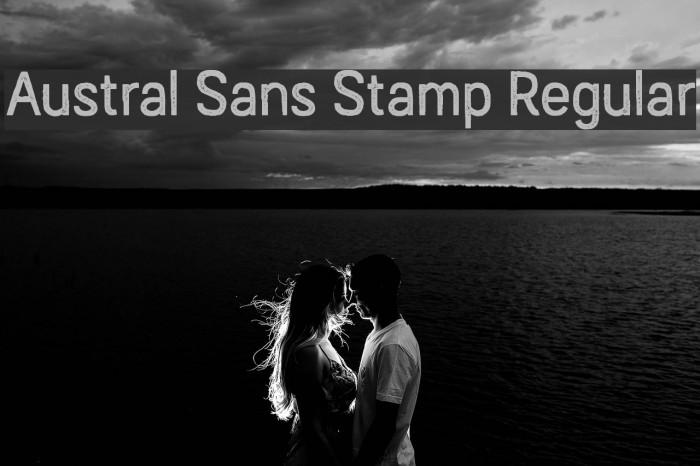 Austral Sans Stamp Regular Шрифта examples
