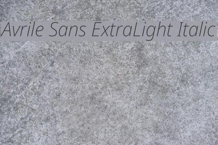 Avrile Sans ExtraLight Italic Schriftart examples