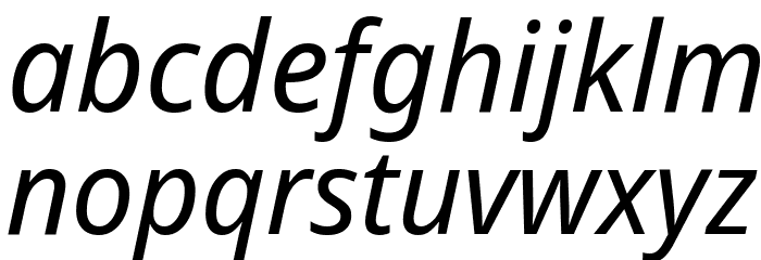 Avrile Sans Italic Schriftart Kleinbuchstaben