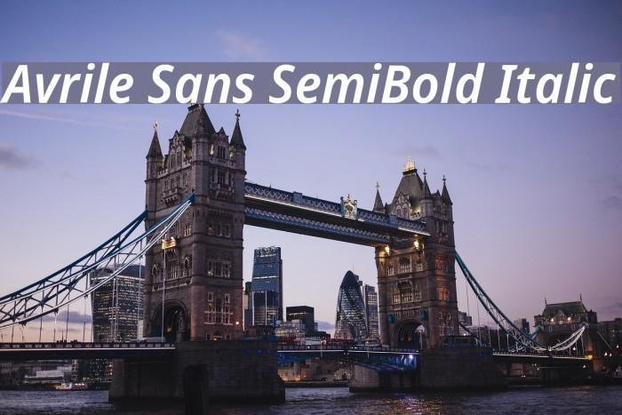 Avrile Sans SemiBold Italic Schriftart examples