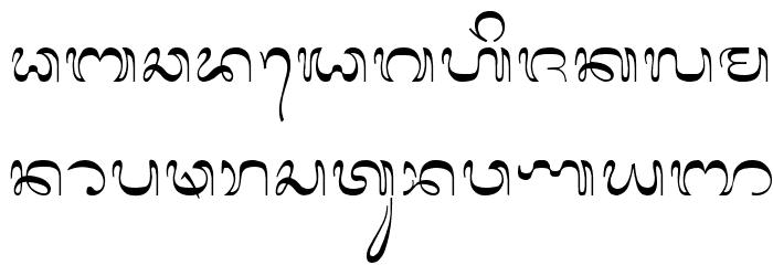 Bali-Simbar Schriftart Kleinbuchstaben