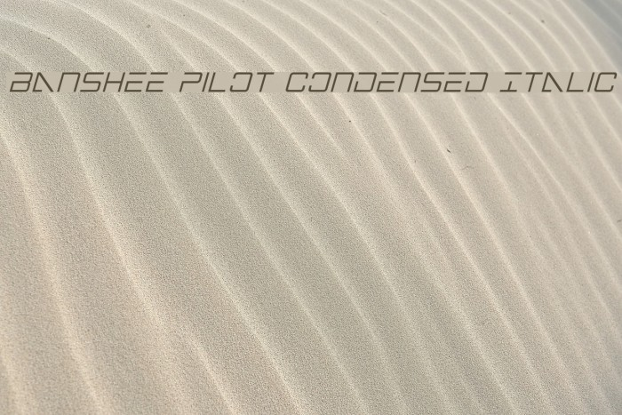 Banshee Pilot Condensed Italic फ़ॉन्ट examples