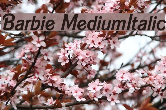 Barbie MediumItalic फ़ॉन्ट examples