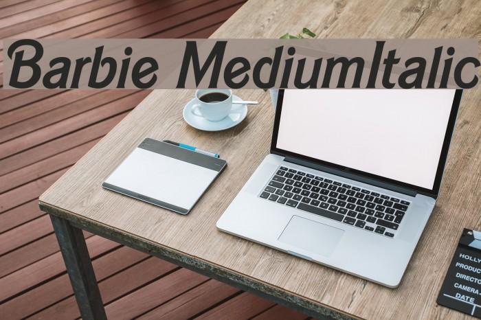 Barbie MediumItalic Schriftart examples