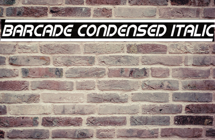 Barcade Condensed Italic Font examples