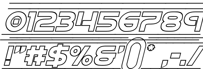 Barcade Outline Italic Font OTHER CHARS