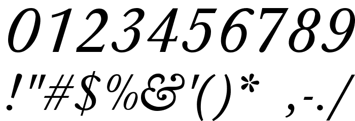 Baskerville-Normal-Italic Font OTHER CHARS