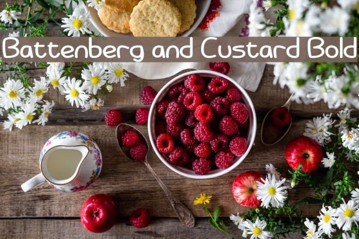 Battenberg and Custard Bold Font examples