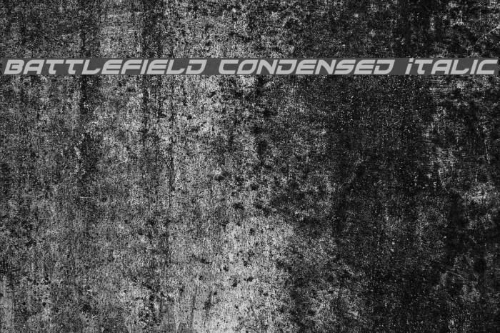 Battlefield Condensed Italic Fonte examples