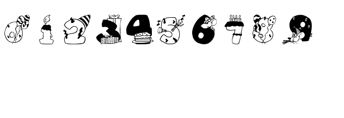 BirthdayDigits Font UPPERCASE