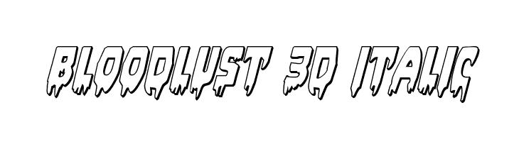 Bloodlust 3D Italic  Free Fonts Download