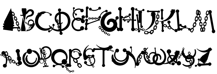 Body Piercing & Chains Font UPPERCASE