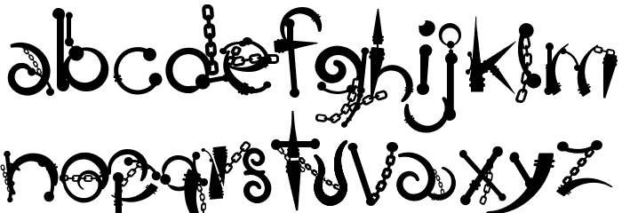 Body Piercing & Chains Font LOWERCASE