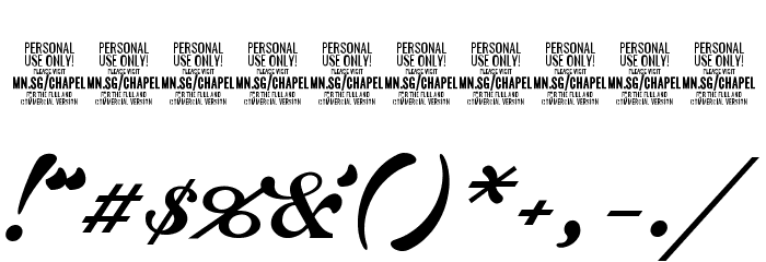 Chapel Script PERSONAL USE 字体 其它煤焦